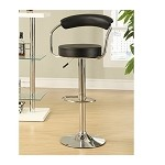 DS-1168-501-300 Black Gas Lift Barstool in Black/Chrome Finish