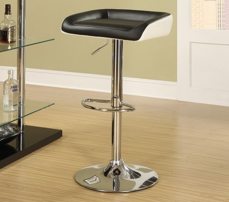 DS-1181-501-300 Black/White Gas Lift Barstool in Black/White Seat         Chrome Finish