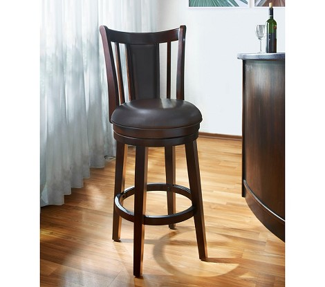 "DS-550-501-T 30"" Wood Swivel Barstool in Dark Espresso Finish"