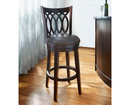 "DS-700-501-T 30"" Wood Swivel Barstool in Dark Espresso Finish"