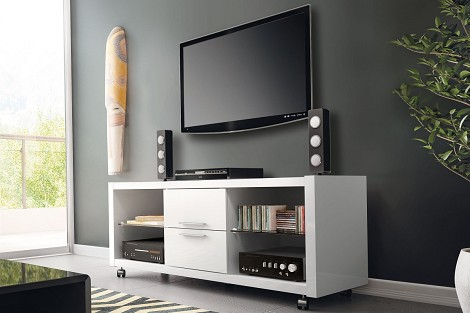 Manhattan Comfort Belvedere 2.0 TV Stand in White Gloss/ High Gloss