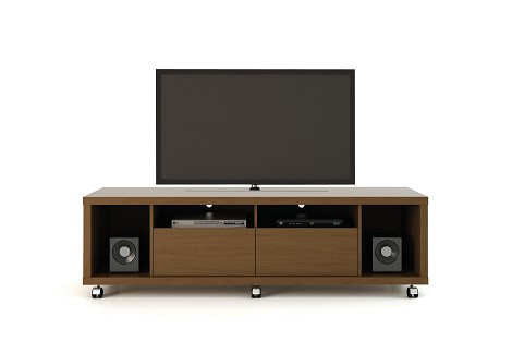 Manhattan Comfort Cabrini TV Stand 1.8 in Nut Brown