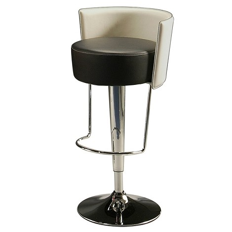 Anaquest Hydraulic Barstool in chrome upholstered PU Black