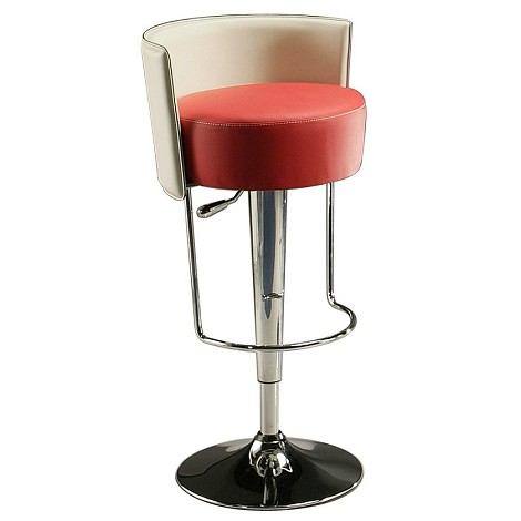 Anaquest Hydraulic Barstool in chrome upholstered  in PU Red