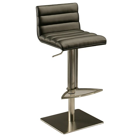 Dubai Hydraulic Barstool in stainless steel with black veneer back upholstered  PU Black