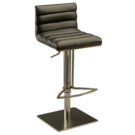 Dubai Hydraulic Barstool in stainless steel with walnut veneer back upholstered in Pu Black