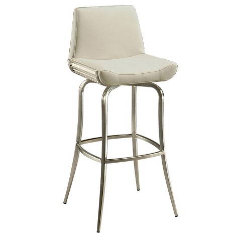 "Degorah 26"" Barstool in stainless steel upholstered in Pu Ivory - Each Stool"
