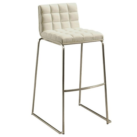 "DonnaKent 30"" Barstool in stainless steel upholstered in Pu Ivory - Each Stool"