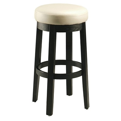 "Ekatarina 26"" Backless Barstool in ballarat black wood upholstered in bonded white leather - Each Stool"