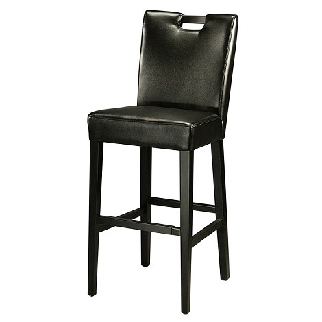 "Epiphany 26"" Barstool in ballarat black wood upholstered in bonded black leather - Each Stool"