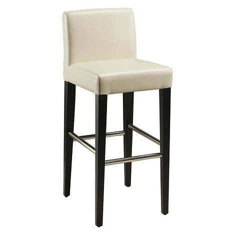 "Equinoii 30"" Barstool in ballarat black wood with stainless steel foot rest upholstered in bonded white leather - Each Stool"