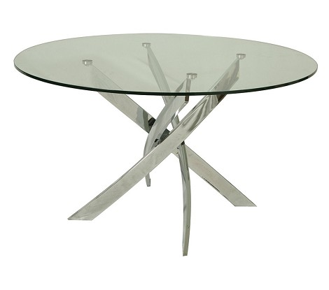"Fahrenheit dining table with 51"" round glass top"