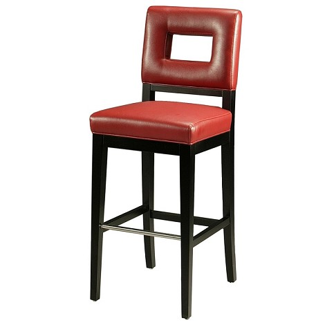 "Hajime 26"" Barstool in ballarat black wood with stainless steel foot rest upholstered in bonded red leather - Each Stool"
