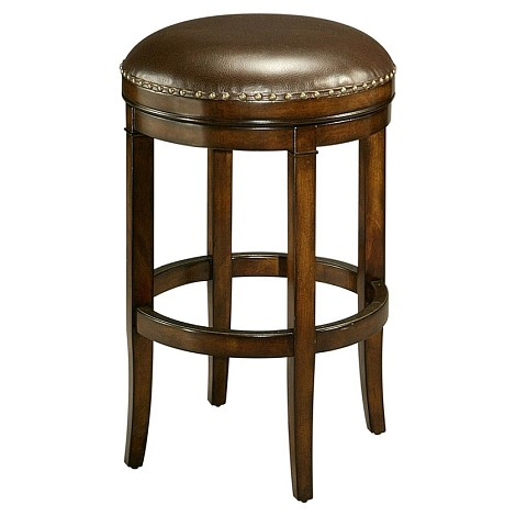 "Naples Bay 26"" Backless Barstool in distressed cherry wood upholstered in leather ridge - Each Stool"