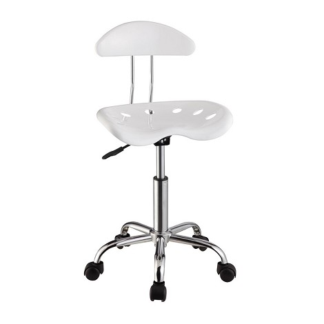White & Chrome Adjustable Height Rolling Chair (Set Of Two)