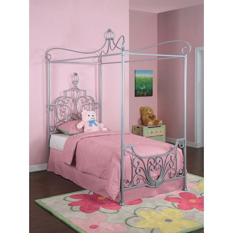 "Princess Rebecca ""Sparkle Silver"" Canopy Twin Size Bed"