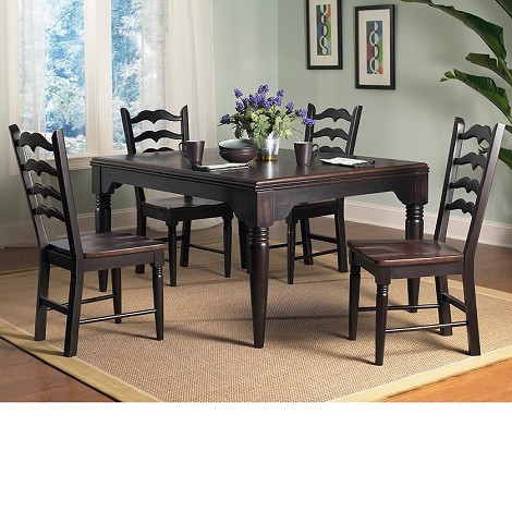 Seville Rect Dining Set in Brown / Black