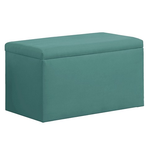 Upholstered Storage Bench In Micro-Suede Azure