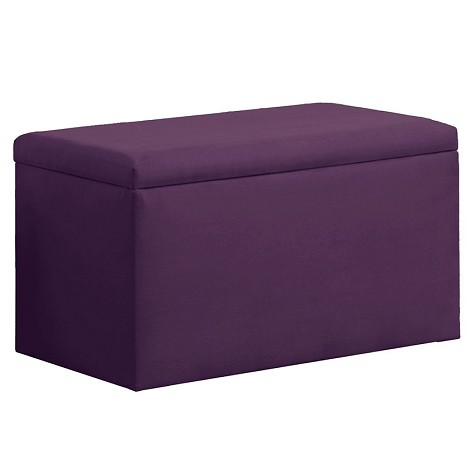 Upholstered Storage Bench In Micro-Suede Hot Purple