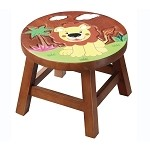 Teamson Kids Lion Wooden Stool - Safari