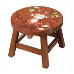 Teamson Kids Monkey Wooden Stool - Safari