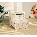 Teamson Kids Girls Step Stool with Storage - Crackled Rose