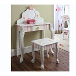 Teamson Kids Girls Vanity Table and Stool - Princess & Frog