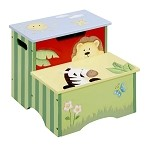 Teamson Kids Step Stool with Storage - Sunny Safari