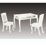 Teamson Kids White Rectangular Table and Set of 2 Chairs - The Winsdor