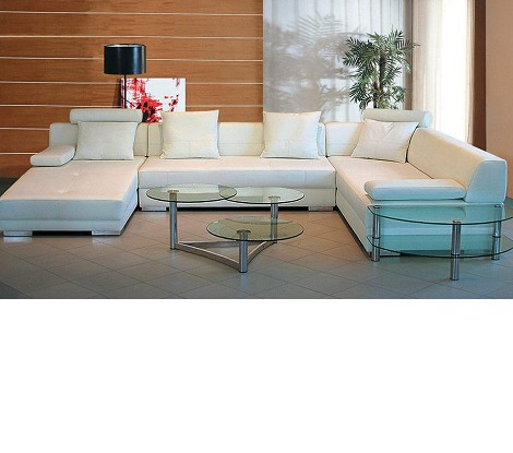 3334 - Modern Bonded Leather Sectional Sofa