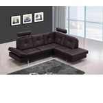 973 - Modern Brown Leather Sectional Sofa