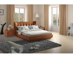 Contemporary Orange Tufted Leatherette Bed