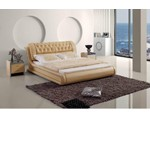 Contemporary Tufted Beige Leatherette Bed