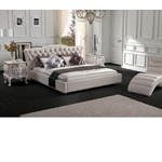 Contemporary White Leatherette Bed