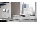 Lyrica - White Leather Tall Headboard Bed