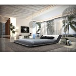 Marquee - Contemporary Leather Platform Bed with LED Lights