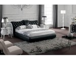 Modern Black Tufted Leatherette Bed