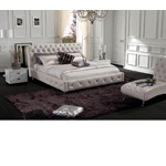 Modern Glossy White Leatherette bed