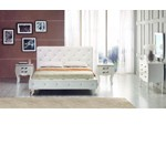 Monte Carlo Leatherette Modern Bed with Crystals