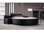 Owen - Black Leather Round Bed with Storage