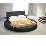 Palazzo Black Leatherette Round Platform Bed