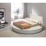 Palazzo White Leatherette Round Platform Bed
