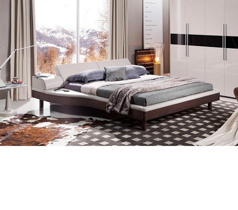 Portofino - White Adjustable Leather Bed with built-in Nightstands