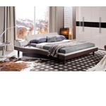 Portofino - Grey Adjustable Leather Bed with built-in Nightstands