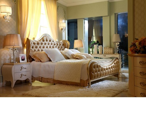 Ravenna - Transitional Beige Fabric Bed