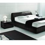 Strip - Dark Brown Crocodile Texture Eco-Leather Bed - Made in Italy