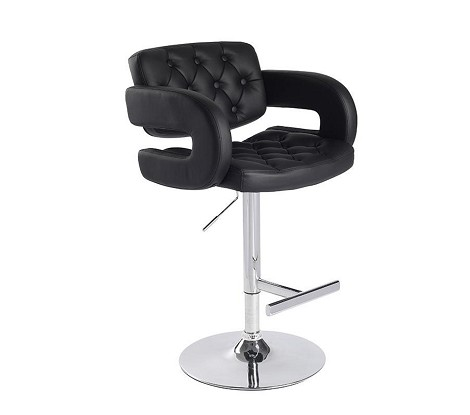 T-1084 - Eco-Black-Leather Contemporary Bar Stool