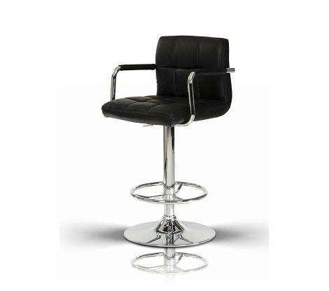 T-1177- Black Eco-Leather Contemporary Bar Stool