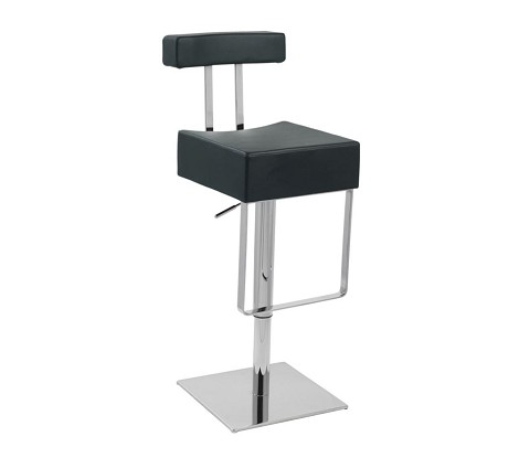 T1054 - Eco-Black-Leather Contemporary Bar Stool