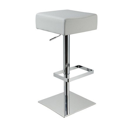 T1059 - Eco-White-Leather Contemporary Bar Stool